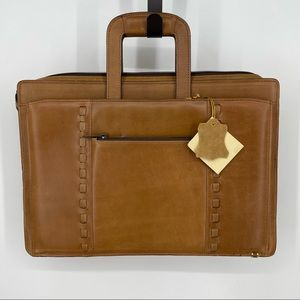 Brown leather briefcase career bag shoulder strap